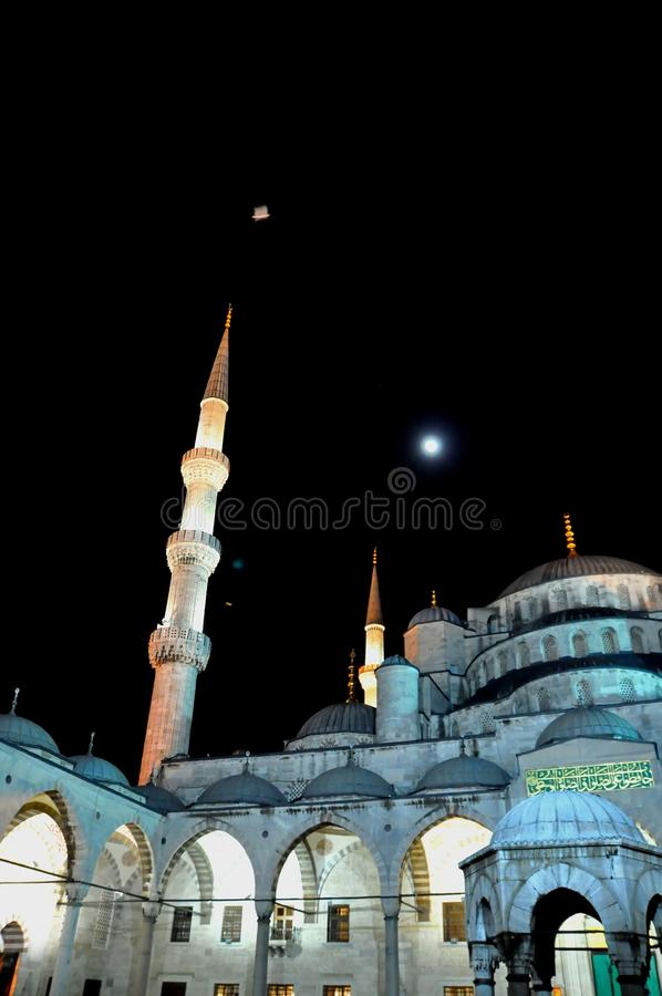 Download Blue Mosque at night stock photo. Image of minaret, evening - 39512482