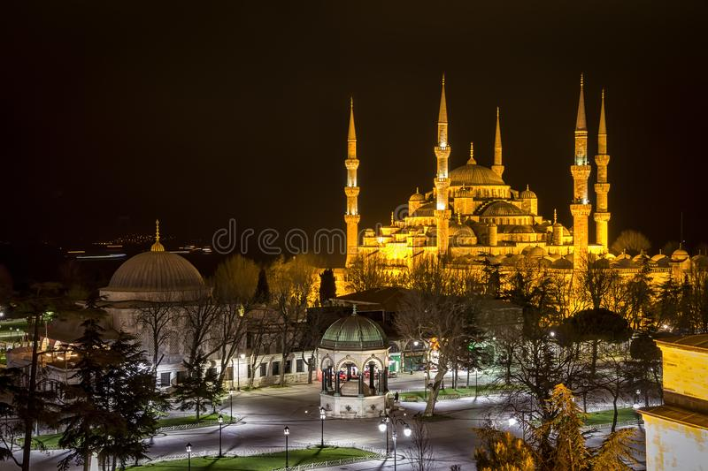 The Blue Mosque at night. Sultan Ahmed Mosque known as the Blue Mosque is a historic mosque in Istanbul, Turkey at night stock photos