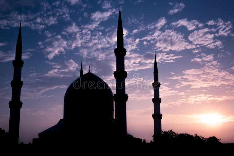 The Blue Mosque Silhouette during sunrise. stock photos