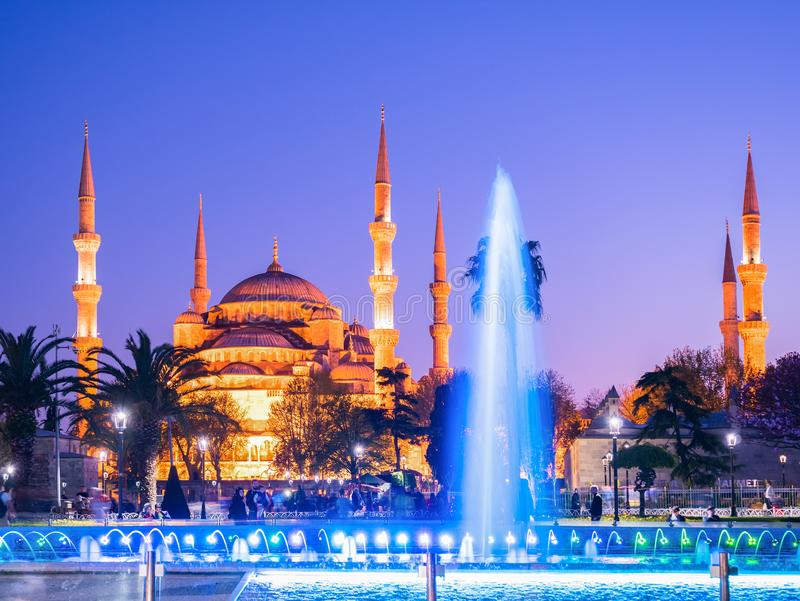 The Blue Mosque, Sultanahmet Camii at night, Istanbul, Turkey stock photography