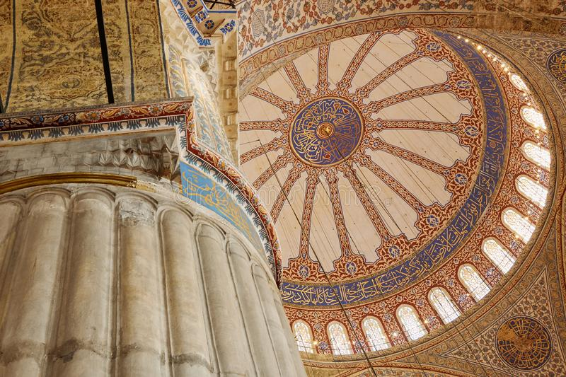 Interior view from the Blue Mosque,. Blue mosque, Sultanahmet mosque, Inside view of domes stock photo