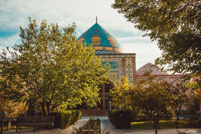 Blue mosque yard. Elegant islamic masjid building. Travel to Armenia, Caucasus. Touristic architecture landmark. Sightseeing in Ye. Revan. City tour. Tourism stock photography