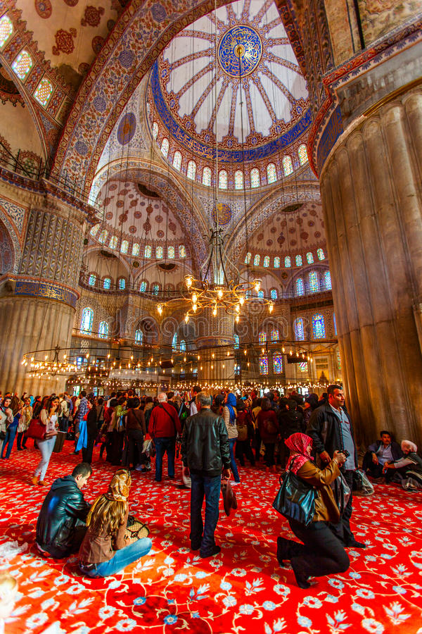 Download Blue mosquee interior editorial photo. Image of dome - 27506966