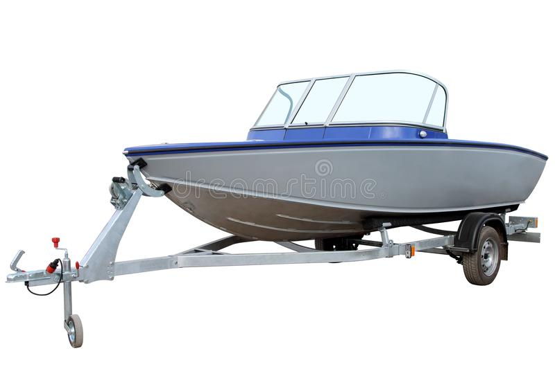 Blue motor boat. Blue motor boat on a trailer for transportation stock photos