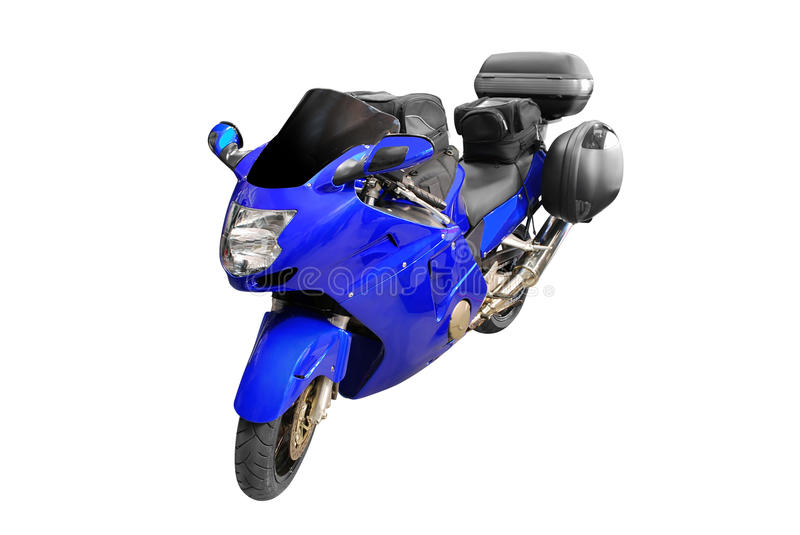 Blue motorcycle royalty free stock image