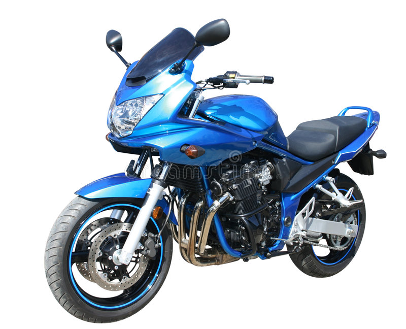 Blue motorcycle stock photos