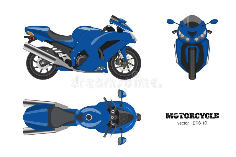 Blue motorcycle in realistic style. Side, top and front view. Detailed image of bike on white background vector illustration