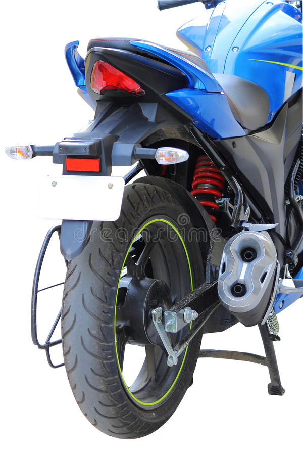 Blue motorcycle rear view royalty free stock photo