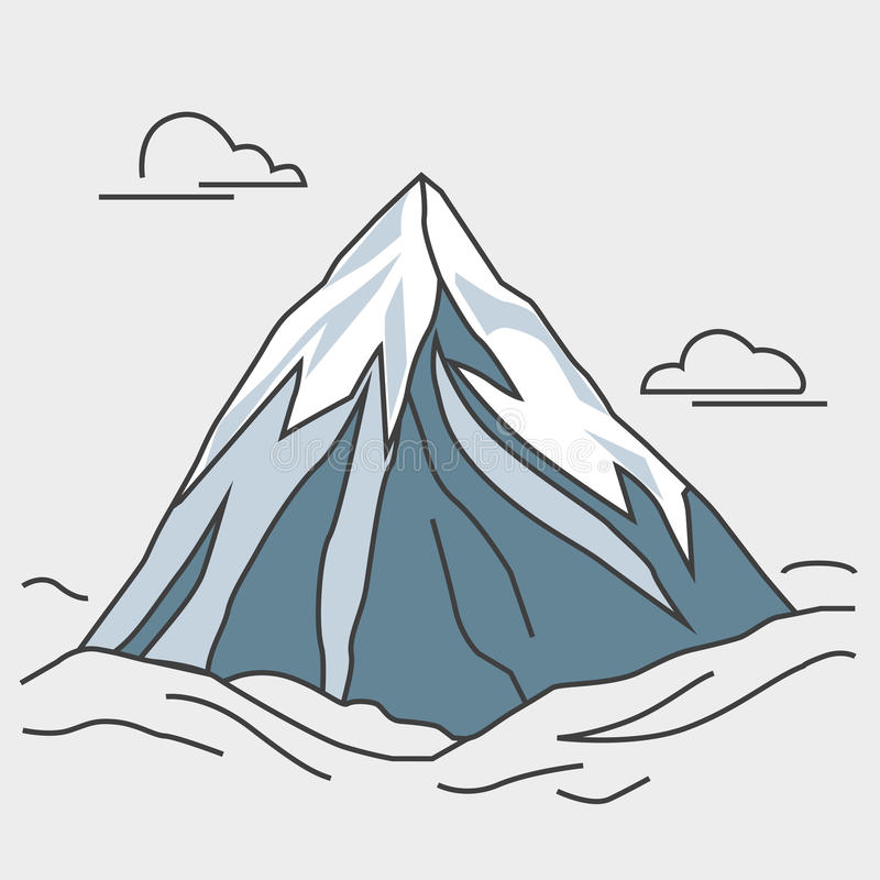 Blue mountain with clouds. Snowy peak. stock illustration