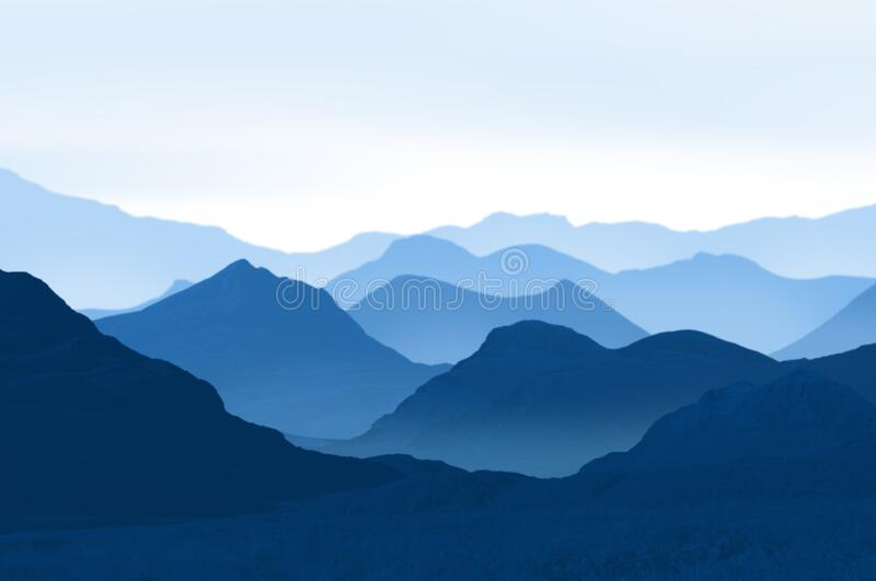 Blue mountain ranges royalty free stock images