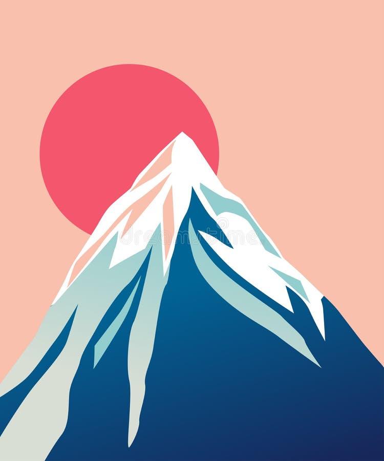 Blue mountain with snowy peak. Sun. Mountain with red Sun. Blue mountain with snowy peak. Color cartoon illustration. Vector vector illustration