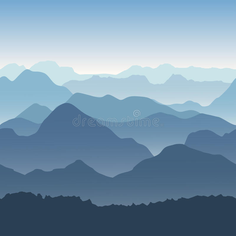 Blue mountains in the fog. Seamless background. stock illustration