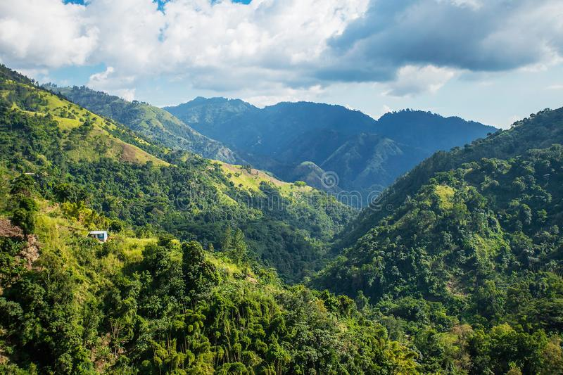 Blue mountains of Jamaica where coffee is grown royalty free stock photos