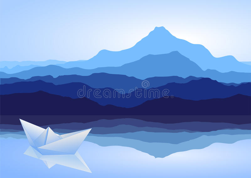 Blue mountains, lake and paper ship vector illustration