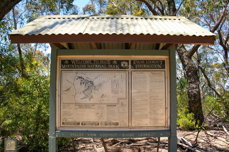 Blue Mountains National Park information sign, New South Wales, Australia stock photos
