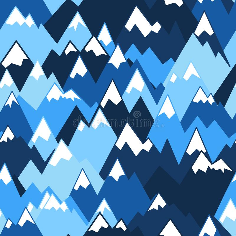 Blue mountains seamless pattern. Vector background for hiking and outdoor concept royalty free illustration