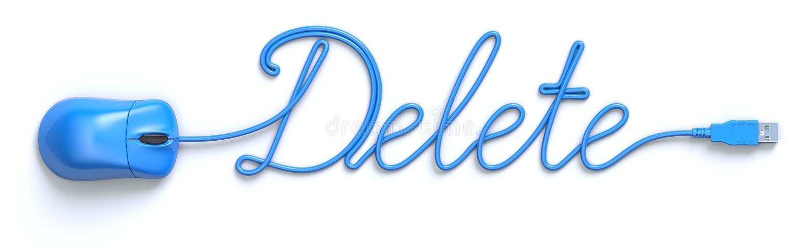Blue mouse and cable in the shape of Delete word. 3D illustration royalty free illustration