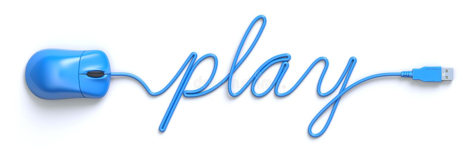 Blue mouse and cable in the shape of play word. 3D illustration royalty free illustration