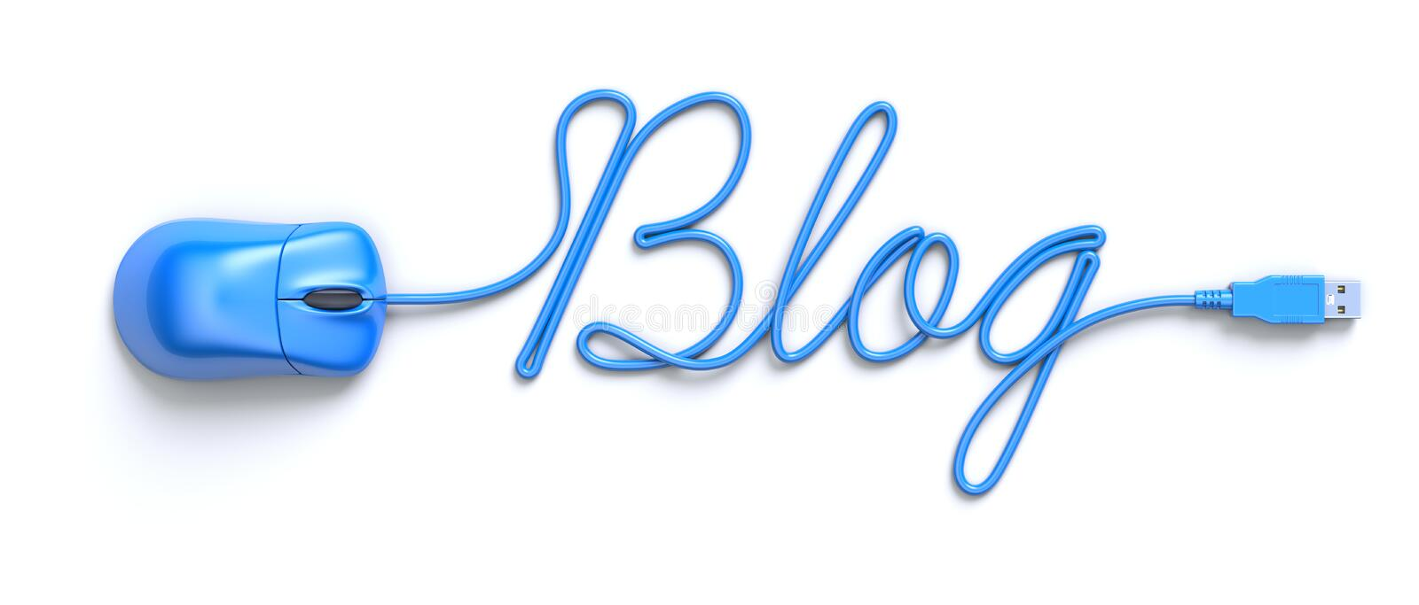 Blue mouse and cable in the shape of word-blog. Blue computer mouse and cable in the shape of word-blog royalty free illustration