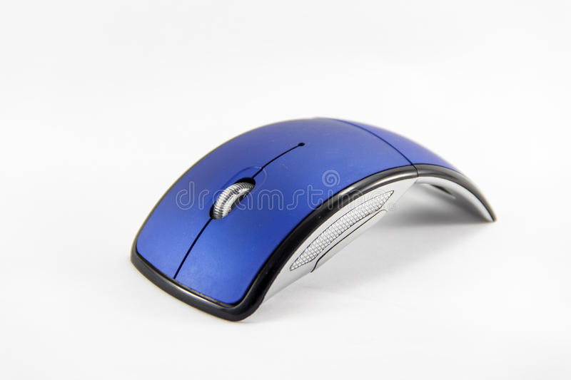 Blue Mouse. Blue wireless Mouse with white background stock image