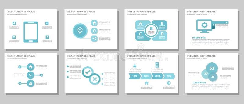 Blue multipurpose presentation template flat design stock illustration