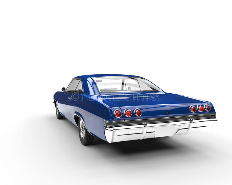 Blue muscle car - back view. Isolated on white background royalty free stock image