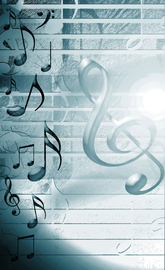 Blue Musical Background. Wit notes and music symbols vector illustration