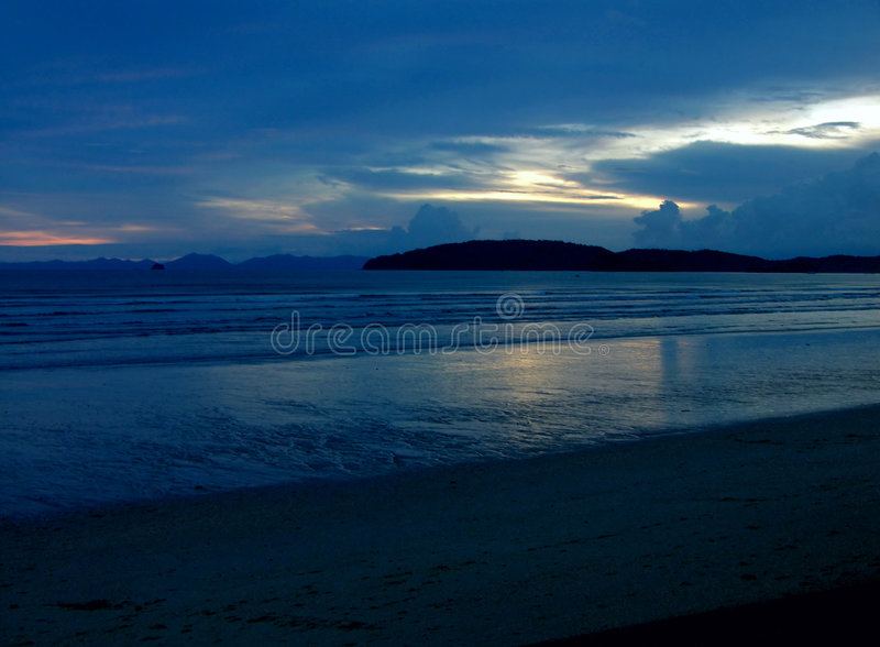 Blue mystic sunset II royalty free stock photo