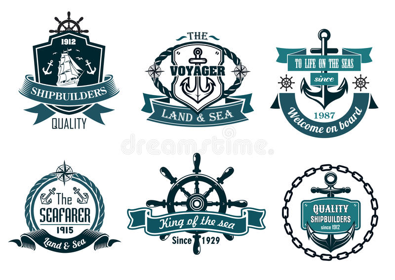 Blue nautical and sailing themed banners or icons stock illustration