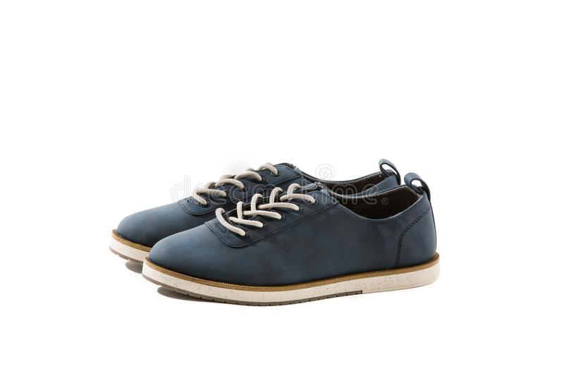 Blue Navy Kids Suede Shoes stock photos