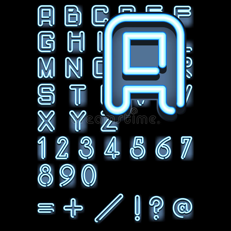 Blue_neon_alphabet royalty free illustration
