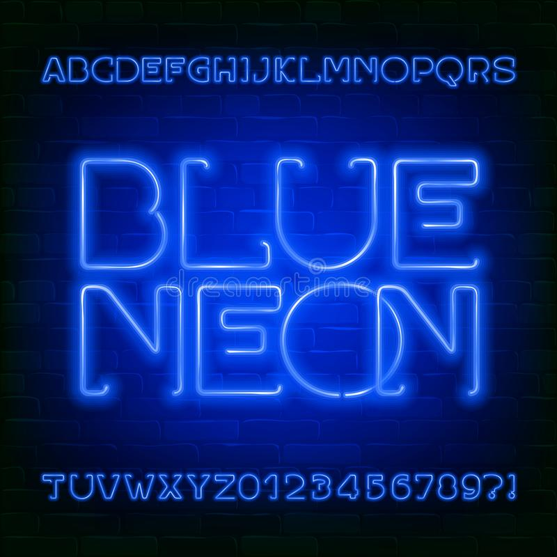 Blue Neon alphabet font. Futuristic light bulb letters and numbers on brick wall background. stock illustration