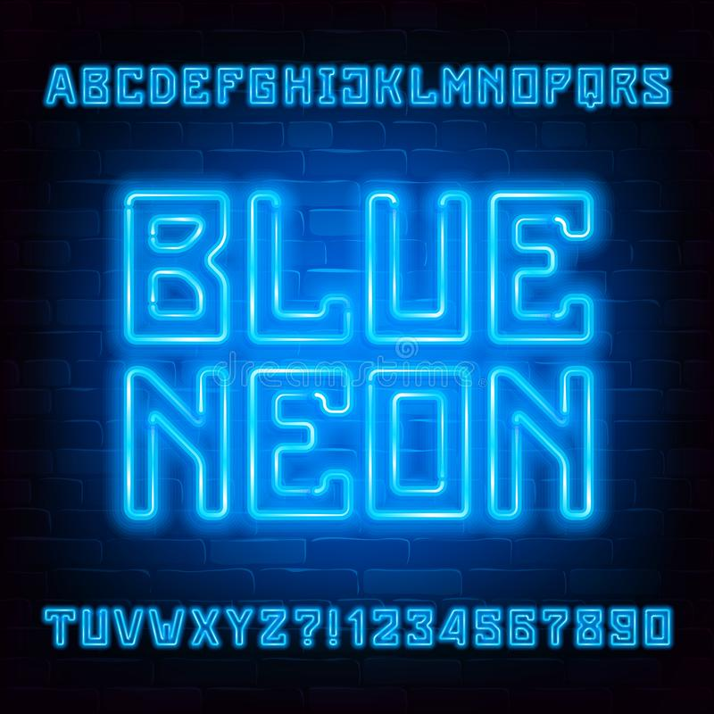 Blue Neon alphabet font. Neon light geometric letters and numbers on brick wall background. stock illustration