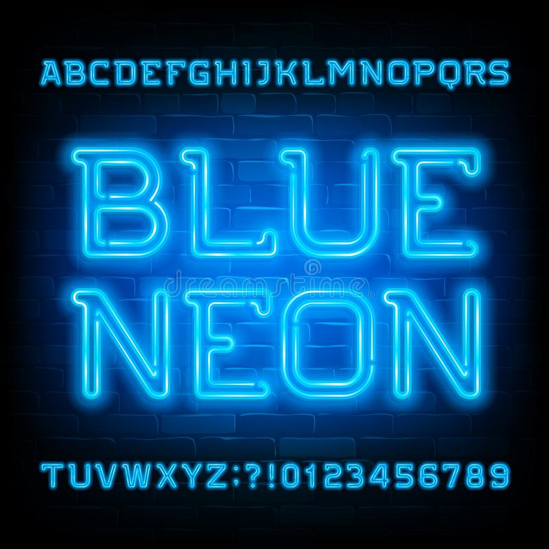 Blue Neon alphabet font. Neon light modern letters and numbers on brick wall background. vector illustration
