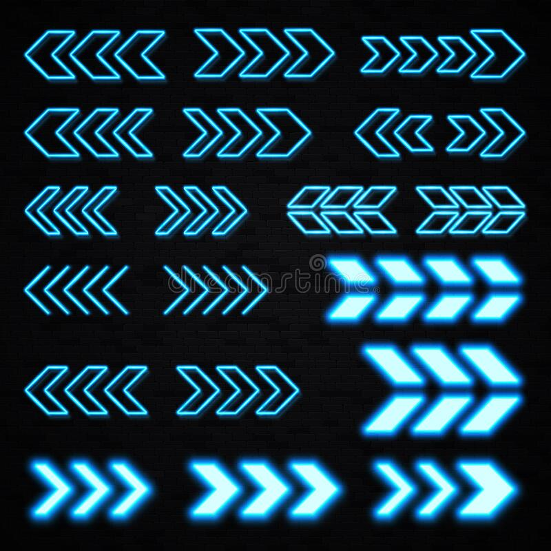 Neon led light sign showing left right direction. Blue neon 3d arrows set on black brick wall background. Shining led light sign showing left and right vector illustration