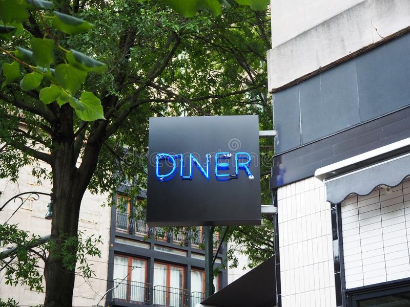 Blue Neon Diner Sign royalty free stock photo