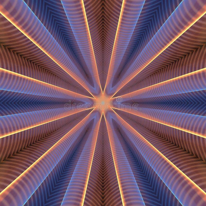 Blue orange neon kaleidoscope royalty free illustration