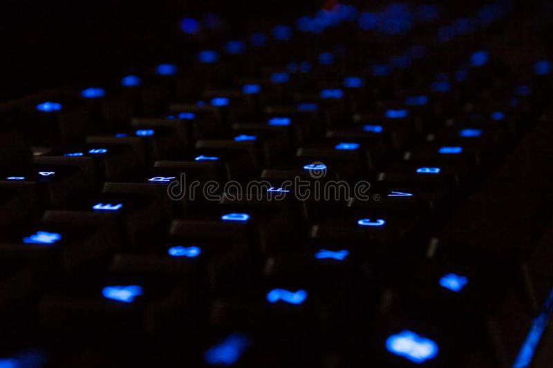 Blue neon Keyboard royalty free stock images