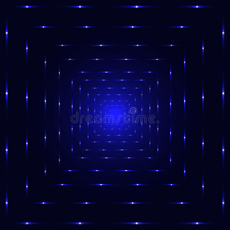 Blue neon laser perspective tunnel stock illustration