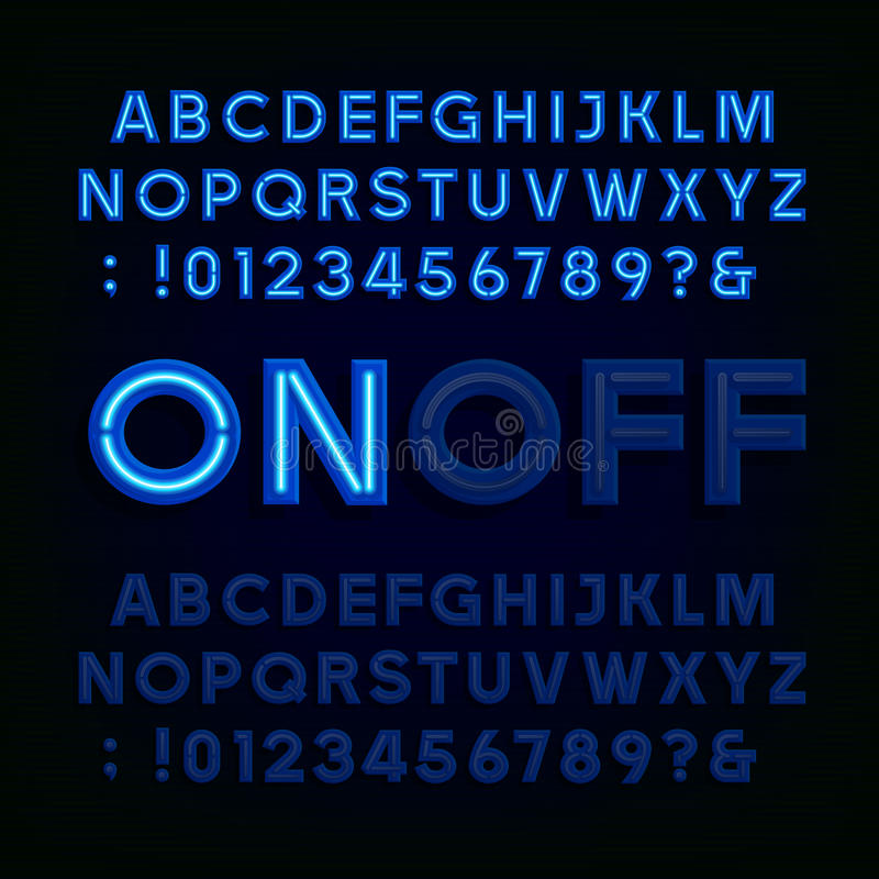 Blue Neon Light Alphabet Font. Two different styles. Lights on or off. stock illustration