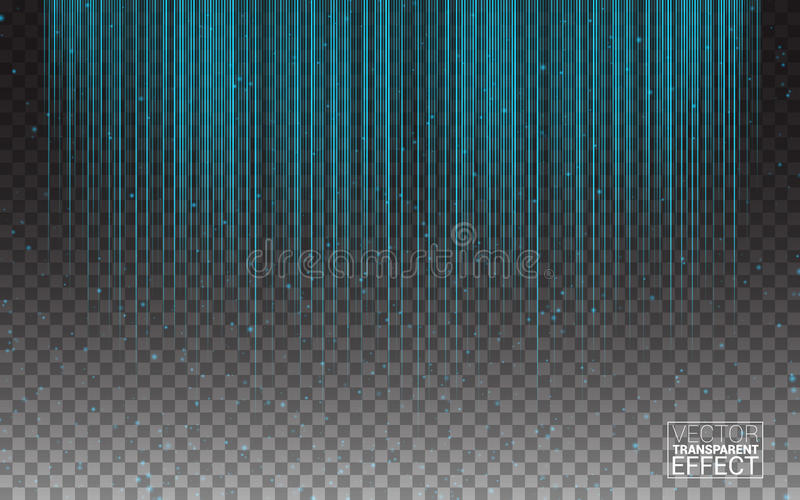 Blue Neon Light Flash Stripes Sparkling Rays Traces. Glowing Light Lines light glow linear effect on transparent background. royalty free illustration