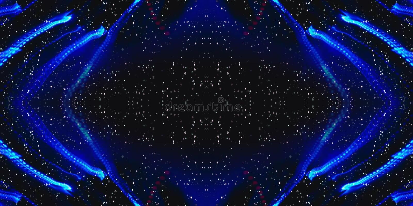 Blue Neon Lights In Space Abstract Shapes, Blurs Background stock illustration