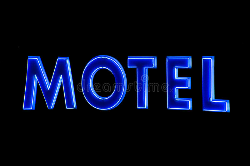 Blue Neon Motel sign at night royalty free illustration
