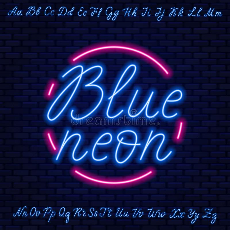 Blue neon script. Uppercase and lowercase letters. vector illustration