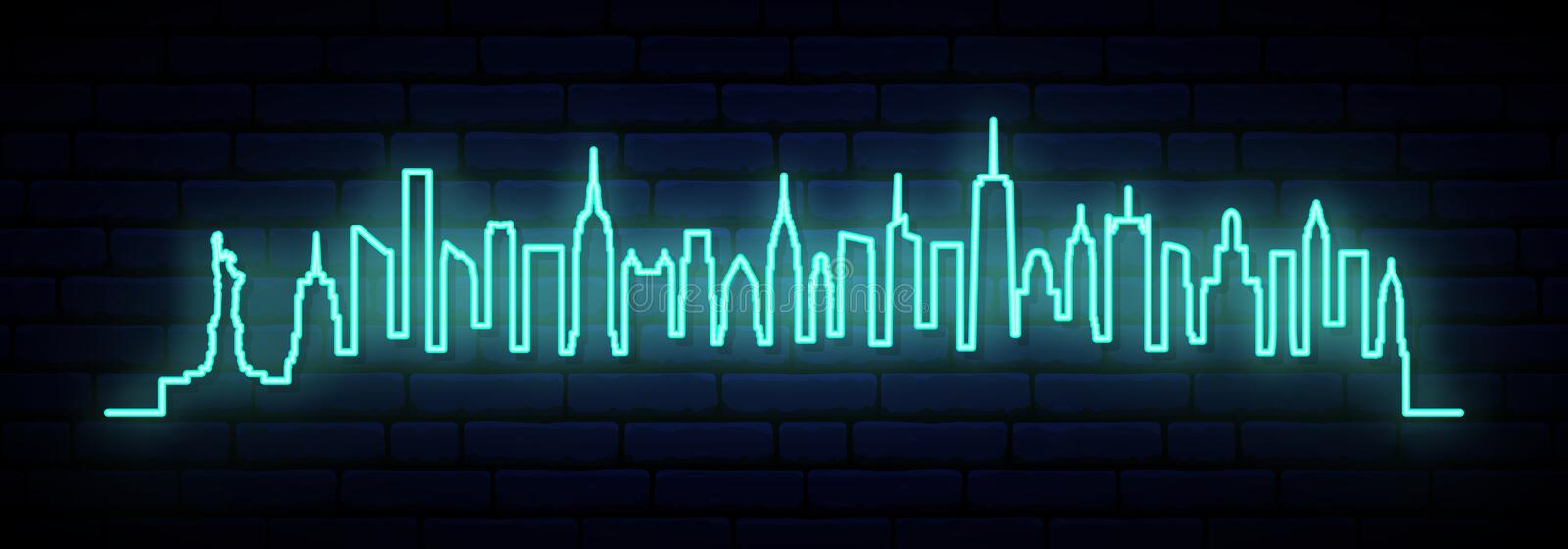 Blue neon skyline of New York city. vector illustration