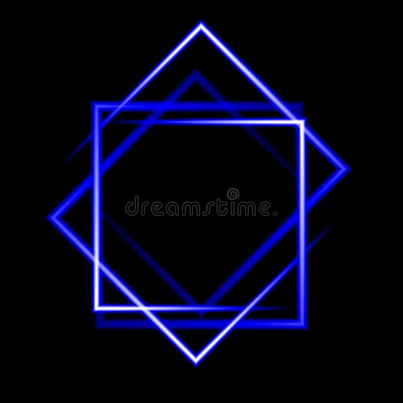 Blue neon square background vector illustration
