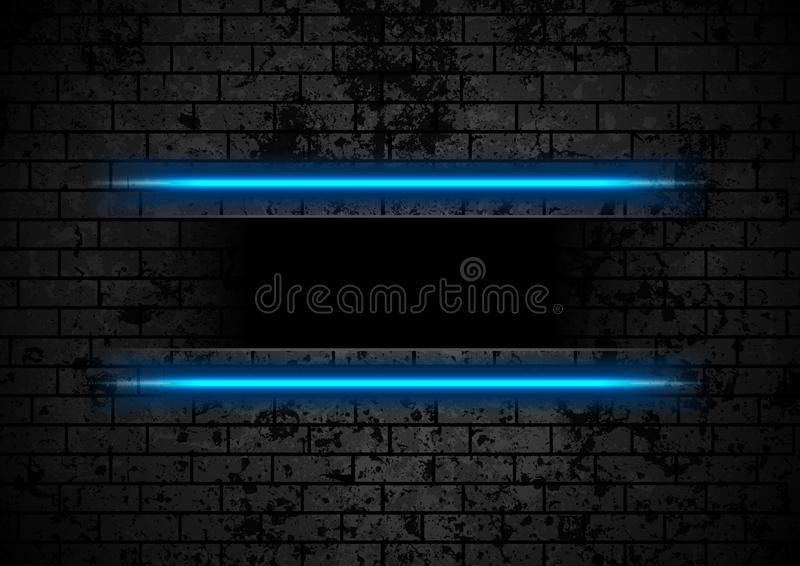 Blue neon stripes on grunge brick wall background. Vector retro design stock illustration