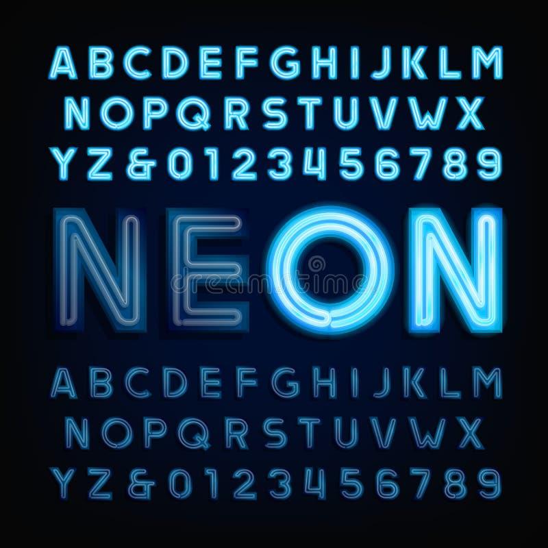 Blue neon tube alphabet font. Light turn on and off. stock illustration