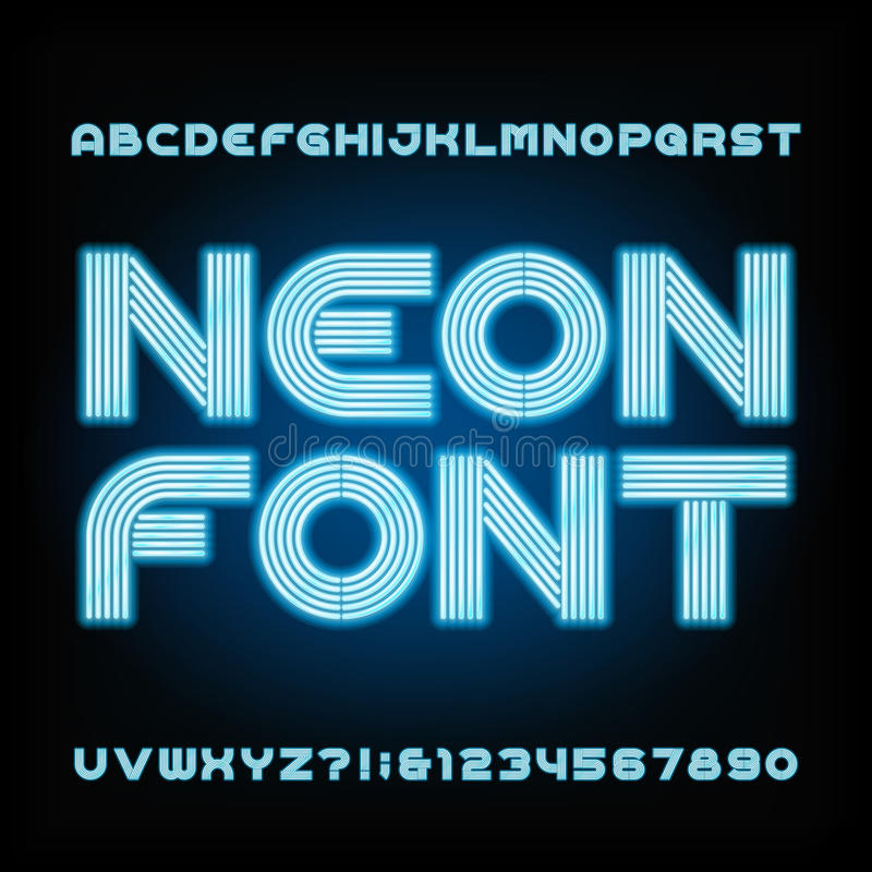 Blue neon tube alphabet font. Type letters and numbers. Blue neon tube alphabet font. Type letters and numbers on a dark background. Vector typeset for your stock illustration