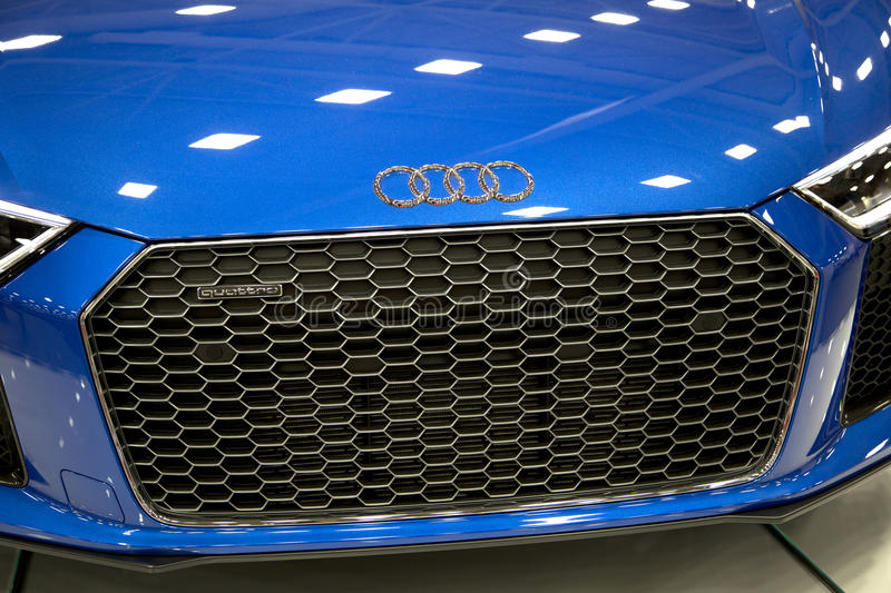 Blue new AUDI car in Dallas Auto show 2017 royalty free stock photo